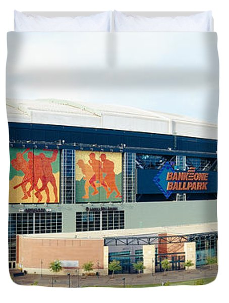 High Angle View Of A Baseball Stadium Duvet Cover
