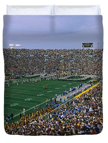 High Angle View Of A Football Stadium Duvet Cover