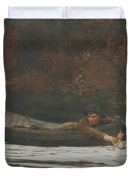Hound And Hunter Duvet Cover by Winslow Homer