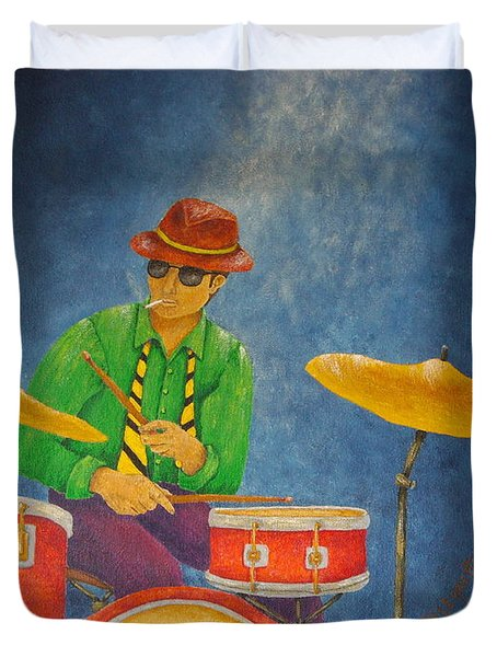 Jazz Drummer Duvet Cover by Pamela Allegretto