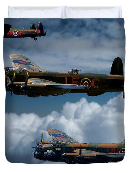 3 Lancaster Bombers Duvet Cover by Ken Brannen