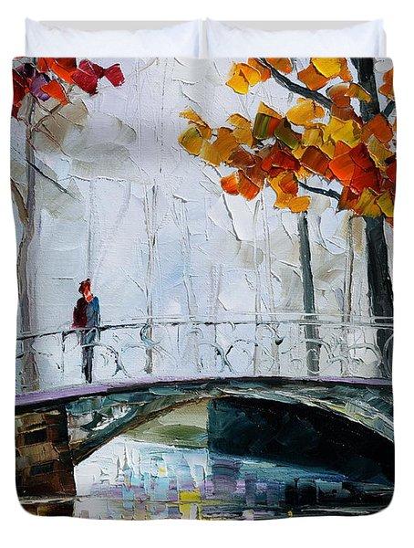 Little Bridge Duvet Cover by Leonid Afremov