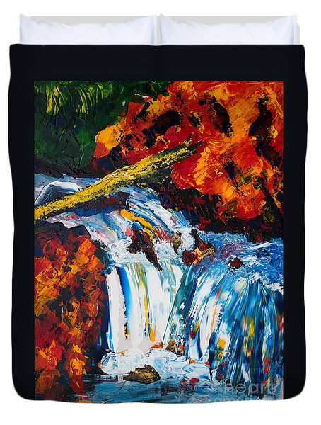 Log And Waterfall Duvet Cover