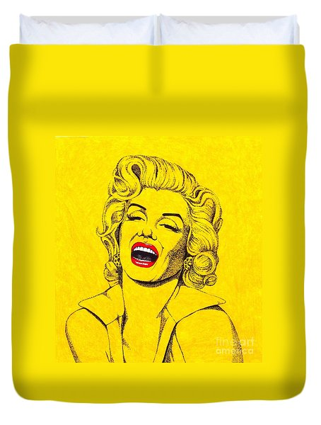Marilyn In Yellow Duvet Cover