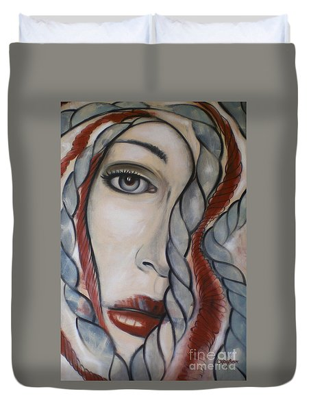 Duvet Cover featuring the painting Melancholy 090409 by Selena Boron