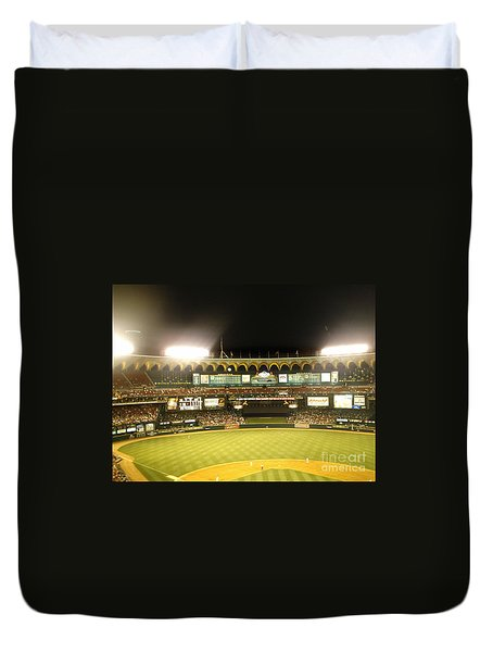 Duvet Cover featuring the photograph Moon In The Arches by Kelly Awad