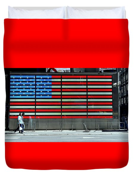 Neon American Flag Duvet Cover by Allen Beatty