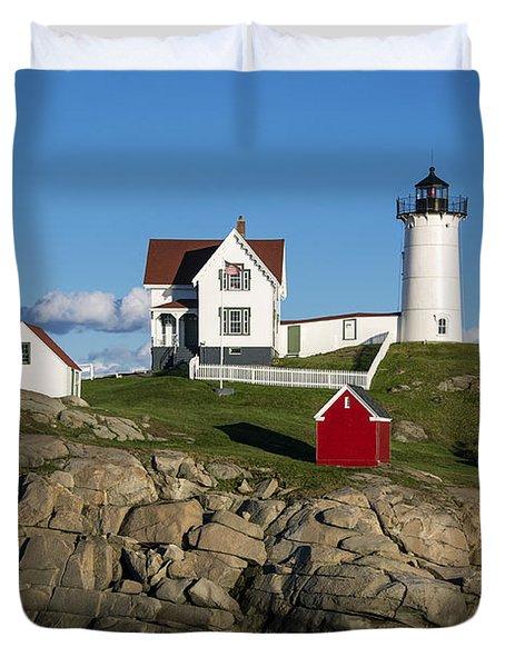 Nubble Lighthouse Duvet Cover by John Greim