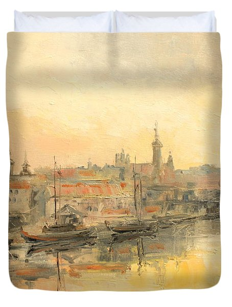 Old Warsaw - Wisla River Duvet Cover
