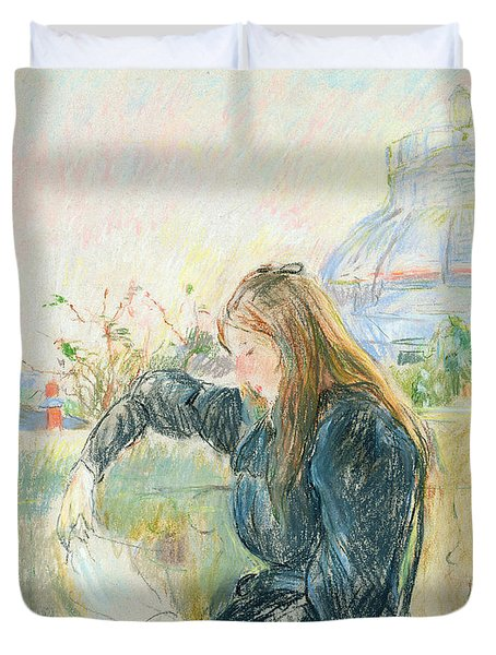 On The Balcony Duvet Cover by Berthe Morisot
