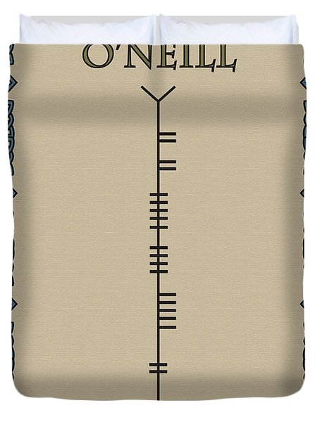 Duvet Cover featuring the digital art O'neill Written In Ogham by Ireland Calling