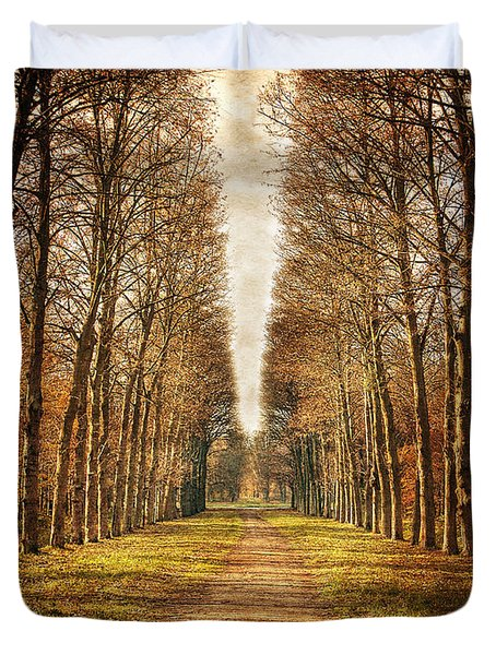 Duvet Cover featuring the photograph Path In The Woods / Versailles by Barry O Carroll
