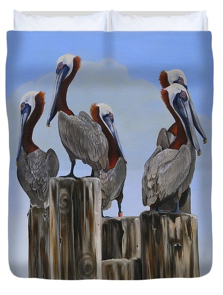 Pelicans Five Duvet Cover by Phyllis Beiser