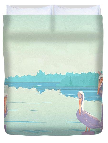 Abstract Pelicans Tropical Florida Seascape Large Pop Art Nouveau 80s 1980s Stylized Painting Duvet Cover by Walt Curlee