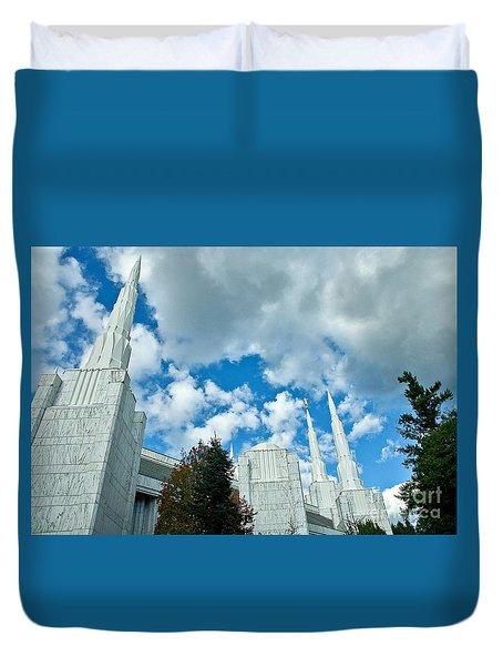 Duvet Cover featuring the photograph Portland Oregon Lds Temple by Nick  Boren