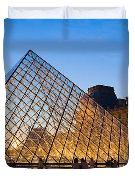 Pyramid In Front Of A Museum, Louvre Duvet Cover