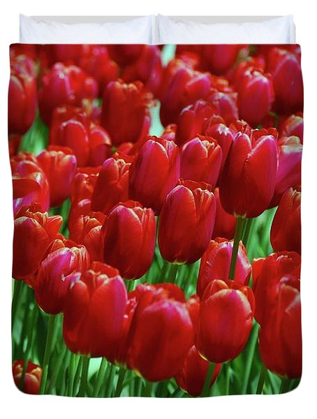 Duvet Cover featuring the photograph Red Tulips  by Allen Beatty