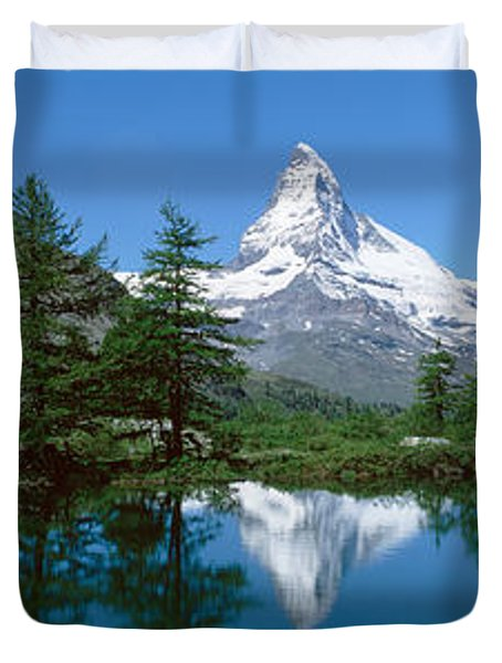 Reflection Of A Mountain In A Lake Duvet Cover
