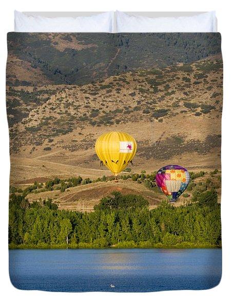 Rocky Mountain Balloon Festival Duvet Cover