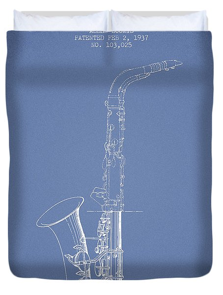 Saxophone Patent Drawing From 1937 - Light Blue Duvet Cover