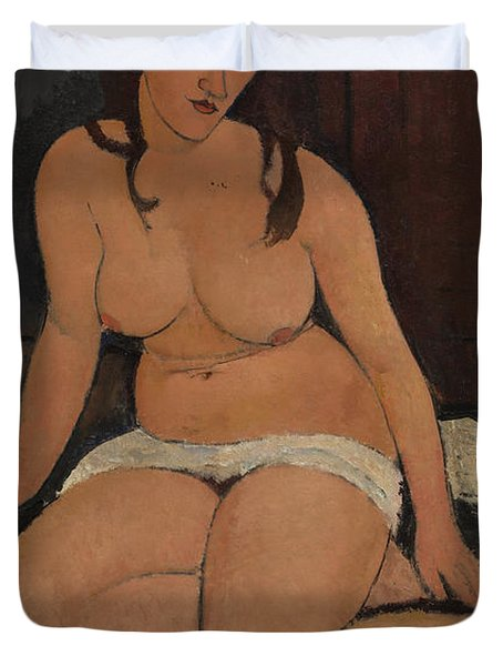 Seated Nude Duvet Cover by Amedeo Modigliani