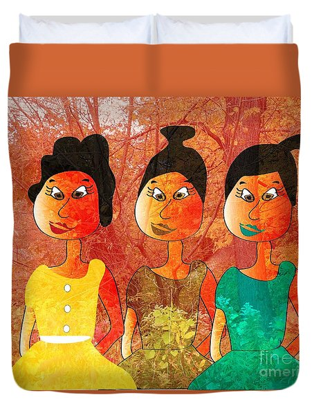 Duvet Cover featuring the drawing Sisters by Iris Gelbart