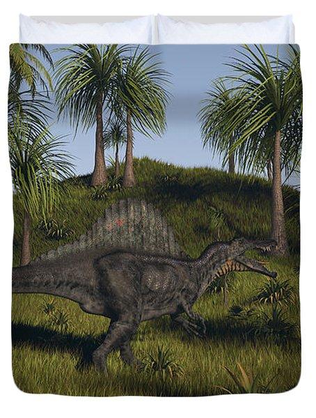 Spinosaurus Hunting In An Open Field Duvet Cover by Kostyantyn Ivanyshen
