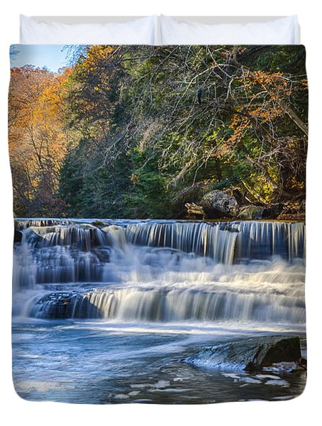 Squaw Rock - Chagrin River Falls Duvet Cover