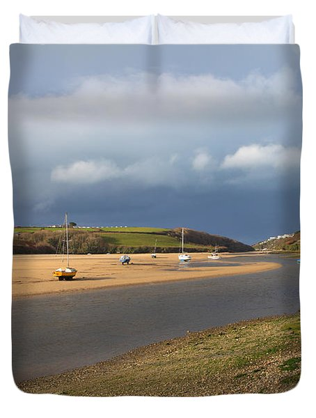 Duvet Cover featuring the photograph Storm Approaches The Gannel Estuary Newquay Cornwall by Nicholas Burningham