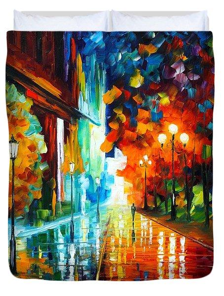 Street Of Hope Duvet Cover by Leonid Afremov