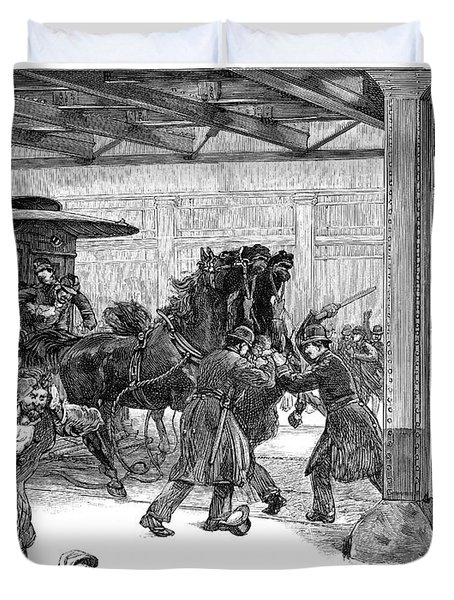 Streetcar Strike, 1889 Duvet Cover