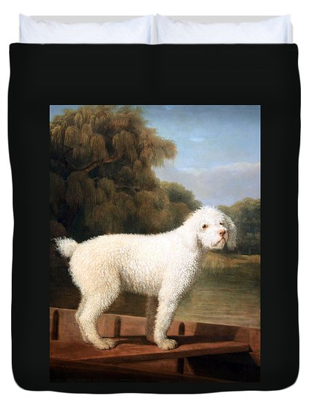 Stubbs' White Poodle In A Punt Duvet Cover by Cora Wandel