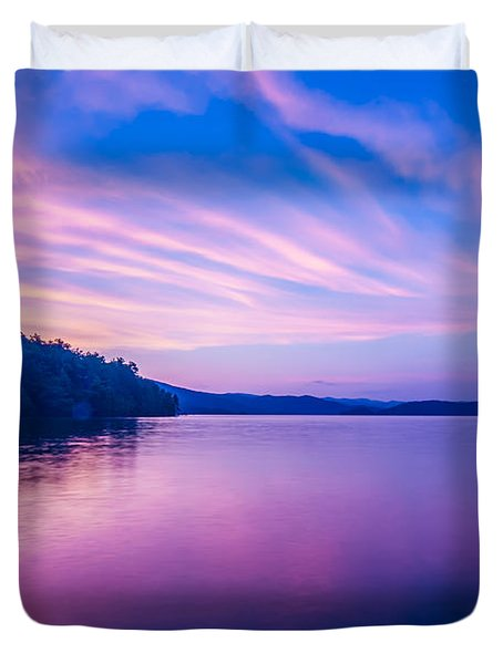 Sunset During Blue Hour At The Lake Duvet Cover