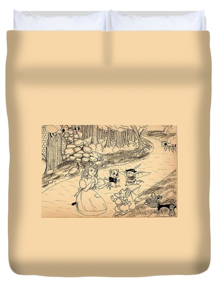 Duvet Cover featuring the drawing Tammy  Meets Cedric The Mongoose by Reynold Jay