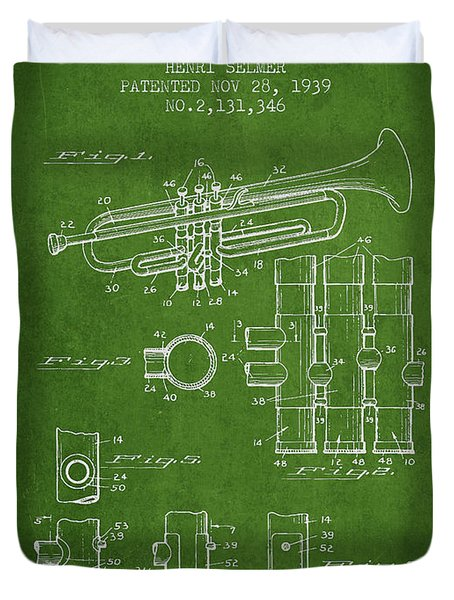Trumpet Patent From 1939 - Green Duvet Cover by Aged Pixel