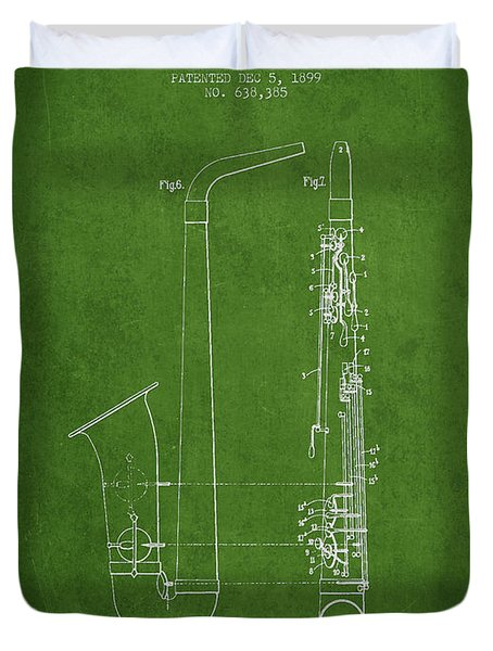 Saxophone Patent Drawing From 1899 - Green Duvet Cover by Aged Pixel