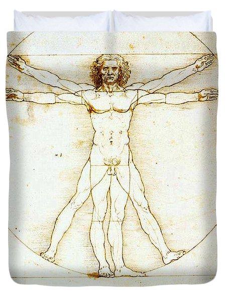 Vitruvian Man Duvet Cover by Leonardo da Vinci