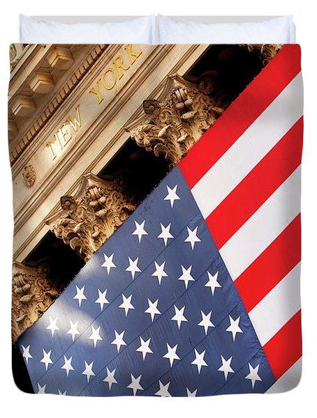 Wall Street Flag Duvet Cover by Brian Jannsen