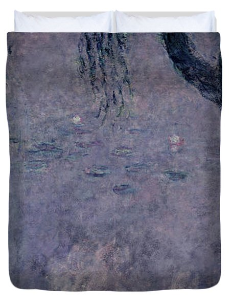 Waterlilies Two Weeping Willows Duvet Cover