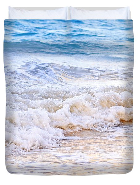Waves Breaking On Tropical Shore Duvet Cover