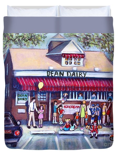 Duvet Cover featuring the painting We All Scream For Ice Cream by Rita Brown