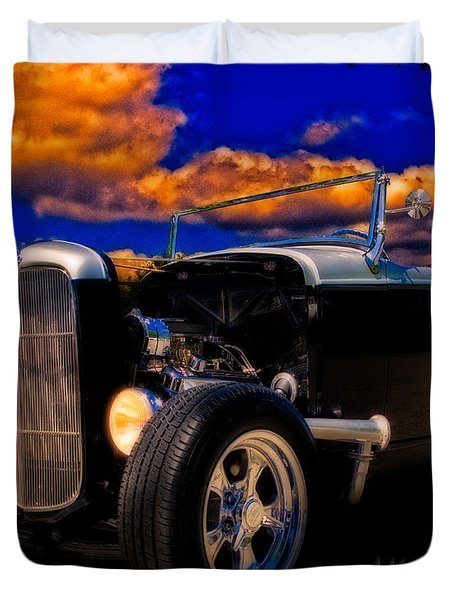 32 Ford Roadster In Silver An Black Duvet Cover