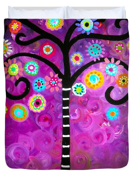 Duvet Cover featuring the painting Tree Of Life by Pristine Cartera Turkus
