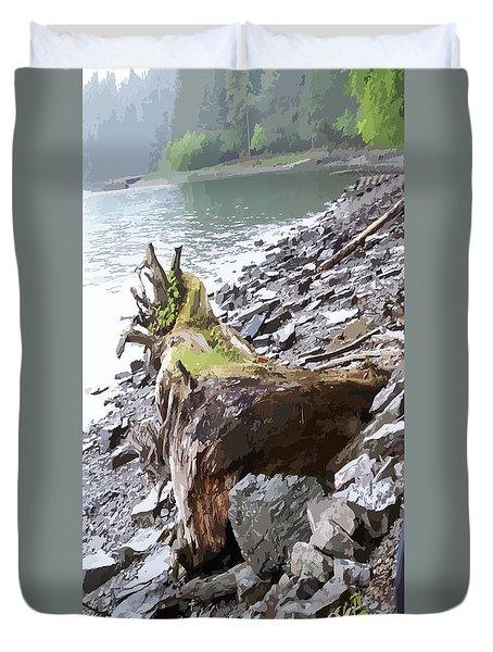 3206 Alaskan Rain Forest Shore Line Duvet Cover by Garland Oldham