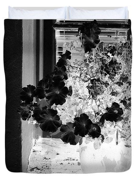 Flowers In Negative Duvet Cover by Jason Michael Roust