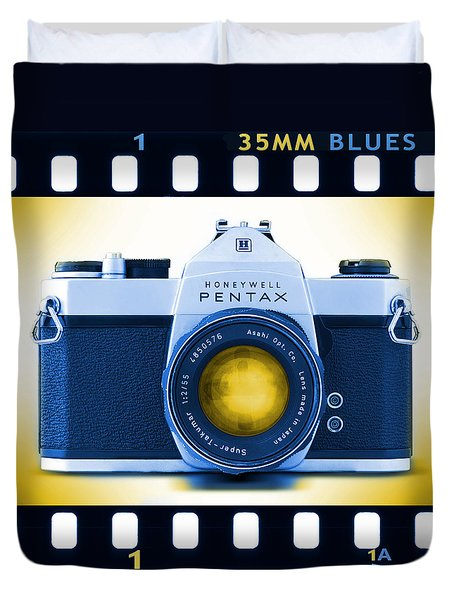 35mm Blues Pentax Spotmatic Duvet Cover by Mike McGlothlen