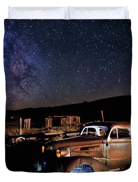 '37 Chevy And Milky Way Duvet Cover