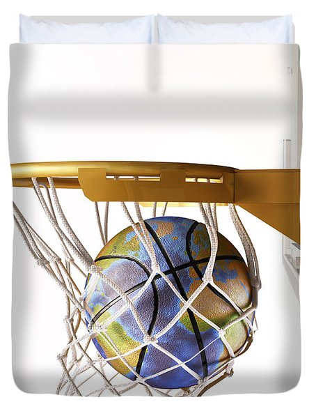 3d Rendering Of Planet Earth Falling Duvet Cover by Leonello Calvetti
