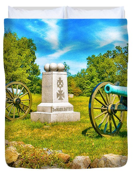 3rd Massachusetts Battery Gettysburg National Military Park Duvet Cover by Bob and Nadine Johnston