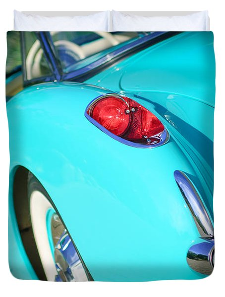 Duvet Cover featuring the photograph 1957 Chevrolet Corvette Taillight by Jill Reger